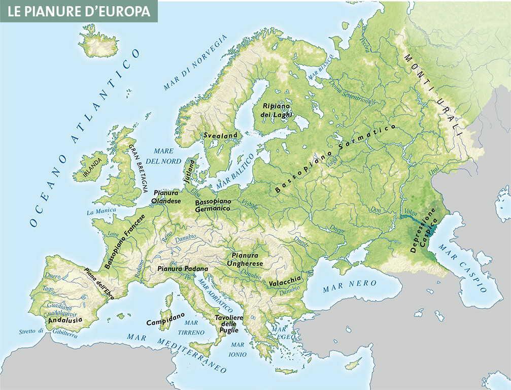 Cartina Muta Europa Centro Occidentale.Capitolo 4 Rilievi E Pianure D Europa
