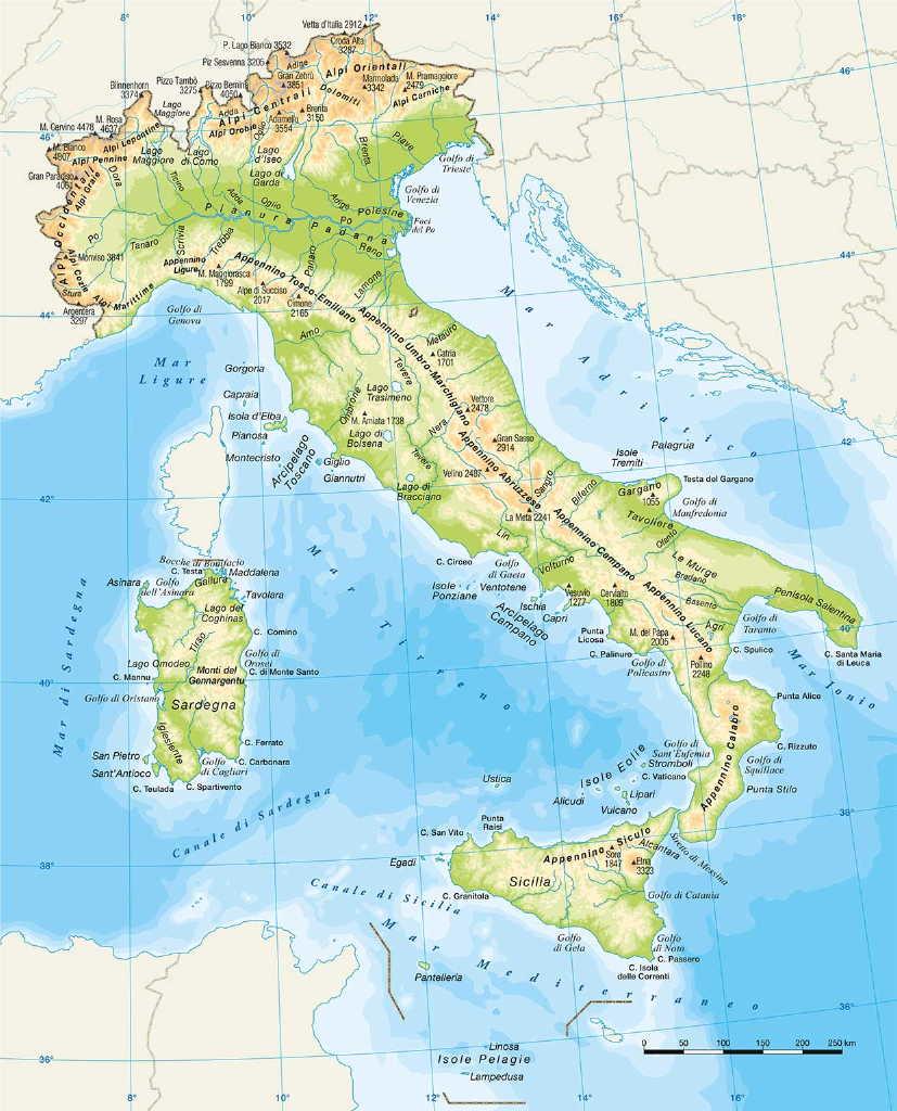 Cartina Italia Monti E Fiumi.Italia